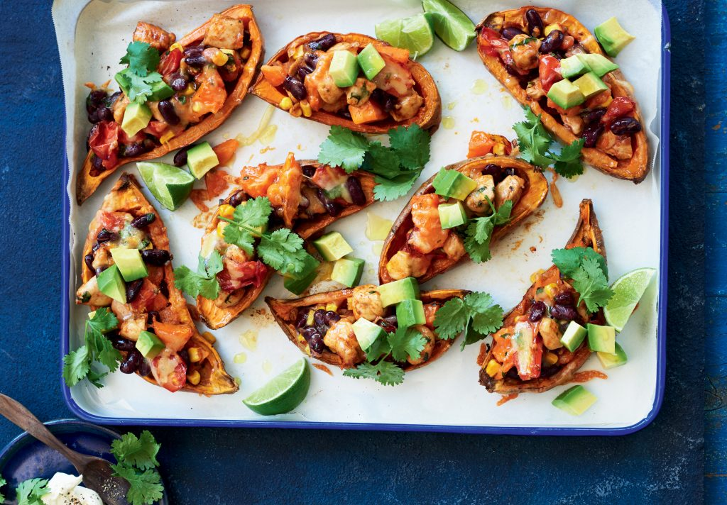 Tex-Mex chicken-stuffed kumara skins