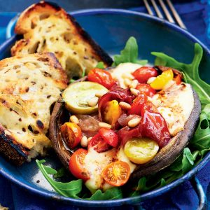 Tomato, bocconcini and prosciutto roasted stuffed mushrooms