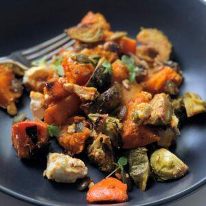 Warm pumpkin, broccoli and feta salad