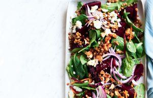 Baby beetroot, feta and lentil salad
