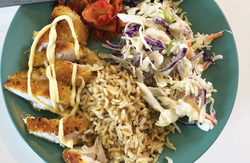 Katsu chicken with slaw and rice
