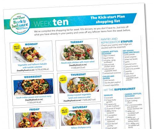 Kick-start meal plan: Week ten