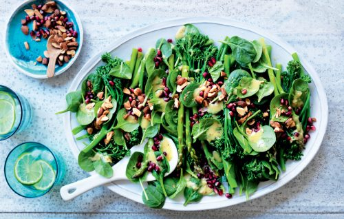 Asparagus, almond and pomegranate salad with roasted garlic dressing