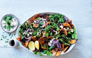 Black rice, herb and roasted pumpkin salad with crumbled feta