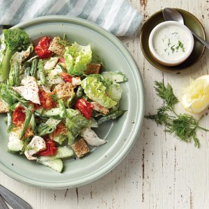 Chicken ranch salad with roast tomatoes
