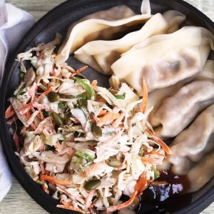 Dumplings and sesame slaw