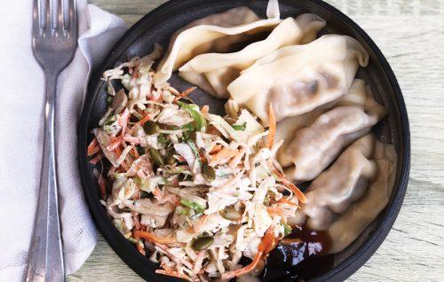 Dumplings and sesame slaw