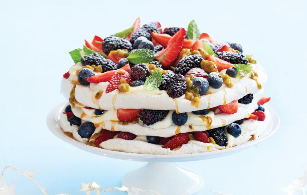 Egg-free pavlova with summer berries