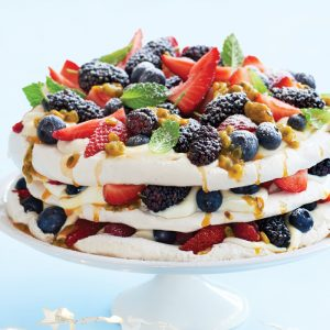 Egg-free pavlova with summer berries