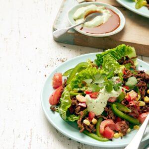 Mexi taco salad with tangy avocado yoghurt dressing