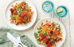Moroccan salmon with beans and warm tomato salsa