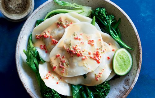 Mushroom ravioli with chilli and lime sauce