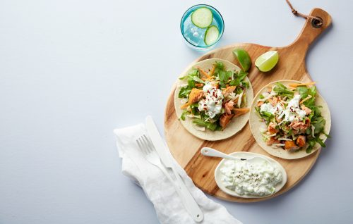 Salmon tacos with cucumber cream