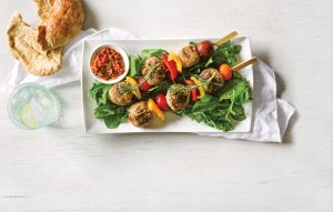 Spicy meatball skewers