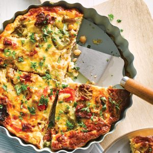 Sundried tomato and nut crustless quiche