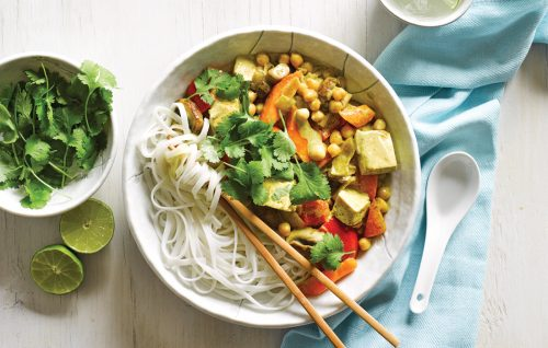 Tofu and chickpea coconut curry