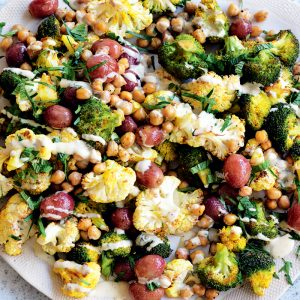 Turmeric-roasted cauliflower, grape, chickpea and mint salad