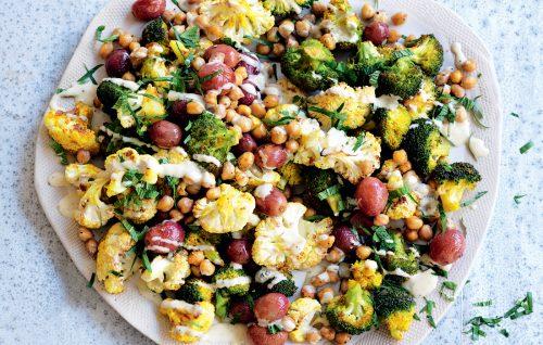 Turmeric-roasted cauliflower, grape, chickpea and mint salad