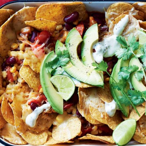 Vegetarian nachos with jalapeño sour cream