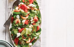 Prawn and watermelon salad