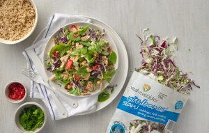 Bang bang chicken slaw bowl with chilli nutty dressing
