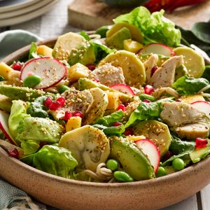 Autumn chicken salad with feijoa dressing