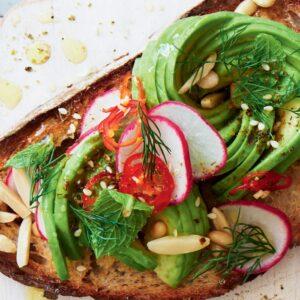 Avocado with herb salad and dukkah bruschetta
