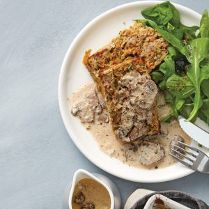 Chicken and vegetable loaf with creamy mushroom sauce