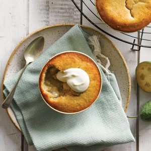 Feijoa and ginger sponge puddings