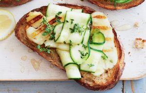 Grilled haloumi, courgette and thyme bruschetta