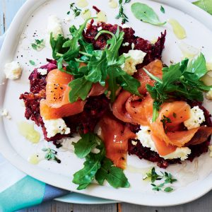 Honeyed ricotta, beetroot and thyme fritters with smoked salmon
