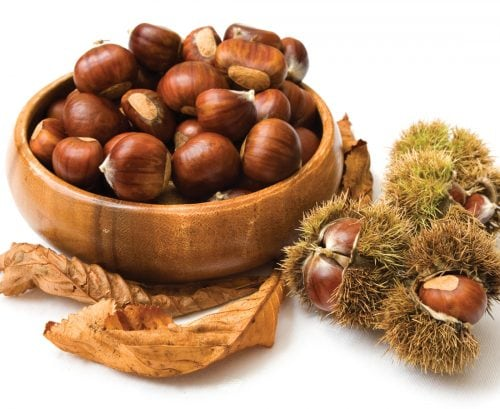 In season late autumn: Chestnuts and Granny Smith apples