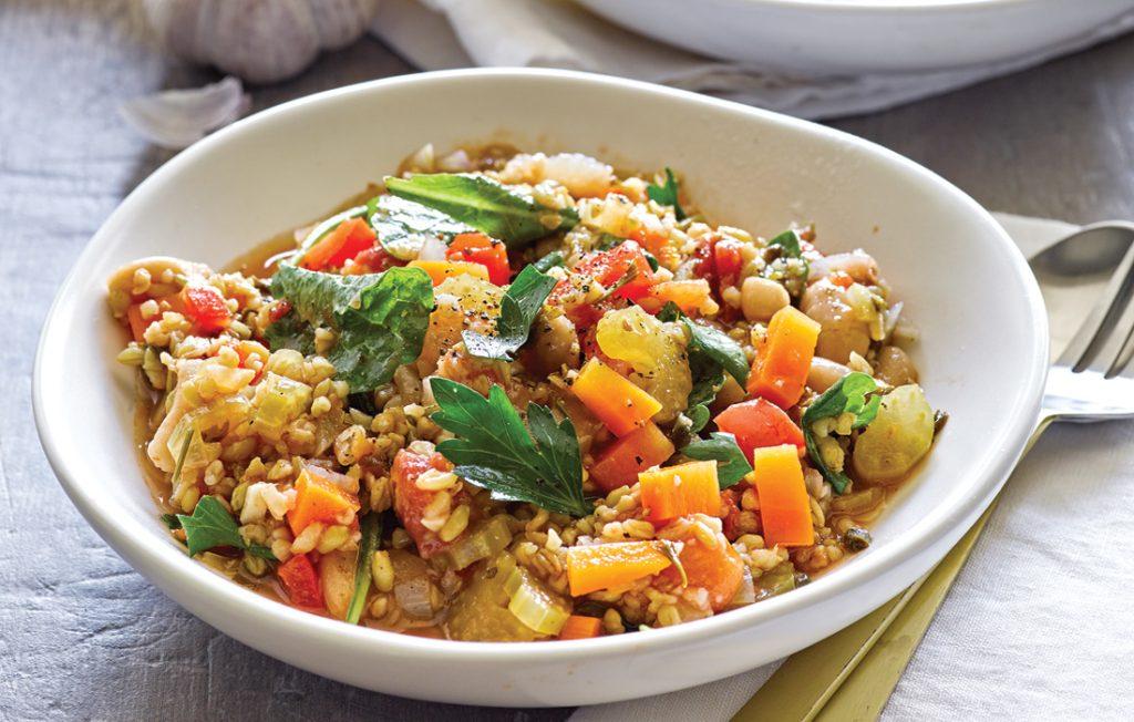 Mediterranean kale and freekeh stew