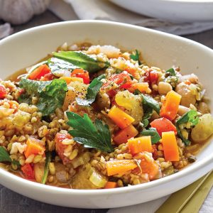 Mediterranean kale and freekeh stew