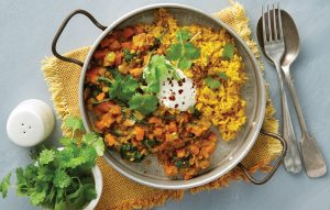 Red dhal with turmeric rice