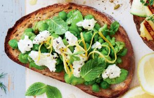 Smashed pea, broad bean and mint vegetarian bruschetta
