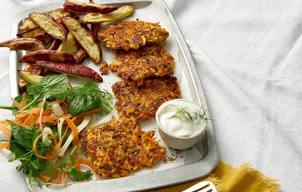 Smoked fish cakes with kumara chips and crunchy salad