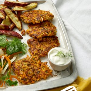 Smoked fish cakes with kumara chips and crunchy salad