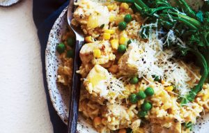 Creamy baked chicken and corn risotto
