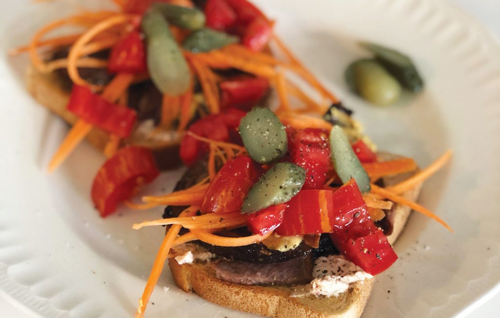 Brisket and vege open sandwich