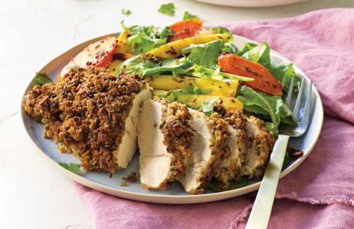 Chicken breast with chilli crumb and honey mustard veges