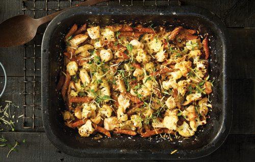 Creamy mushroom, chicken and cauliflower pasta bake
