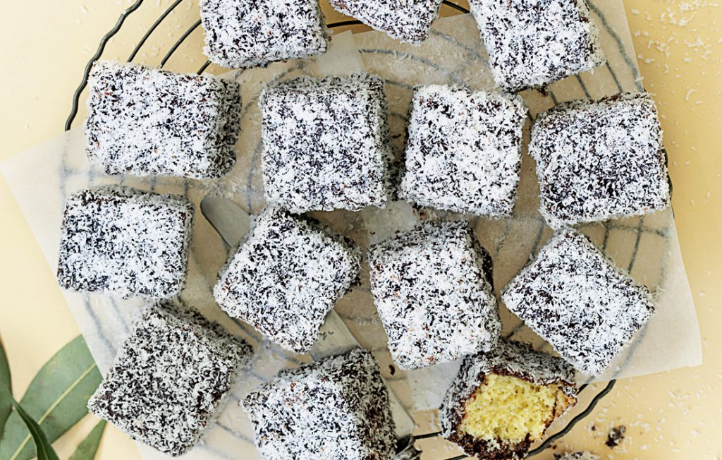 Gluten-free chocolate lamingtons