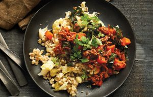 Lamb ragout with barley and cauliflower pilaf