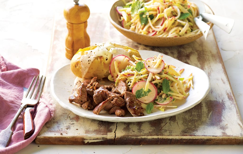 Lamb with apple and kohlrabi slaw