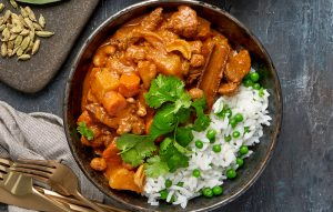 Massaman curry with jasmine and pea rice