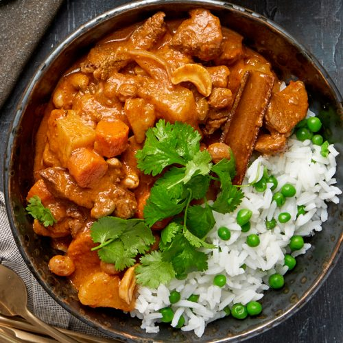 Massaman curry with jasmine and pea rice