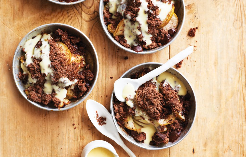 Pear and double chocolate crumble