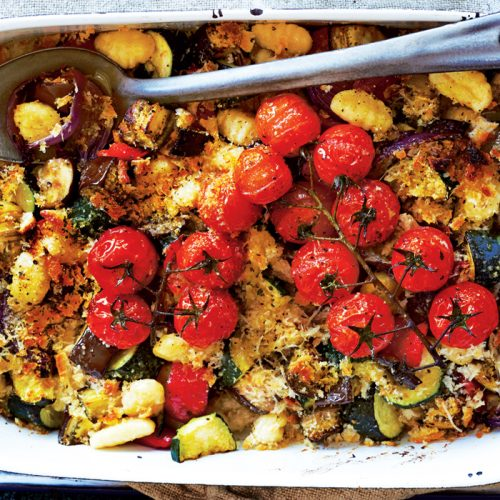 Roasted vegetable and potato gnocchi bake with avocado whip