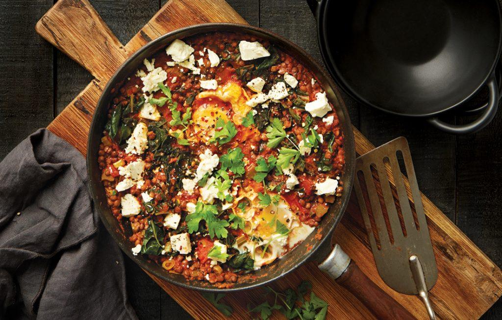 Shakshuka with lentils and feta